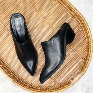 Treasure & Bond Black Leather Stud Point Mule Boot